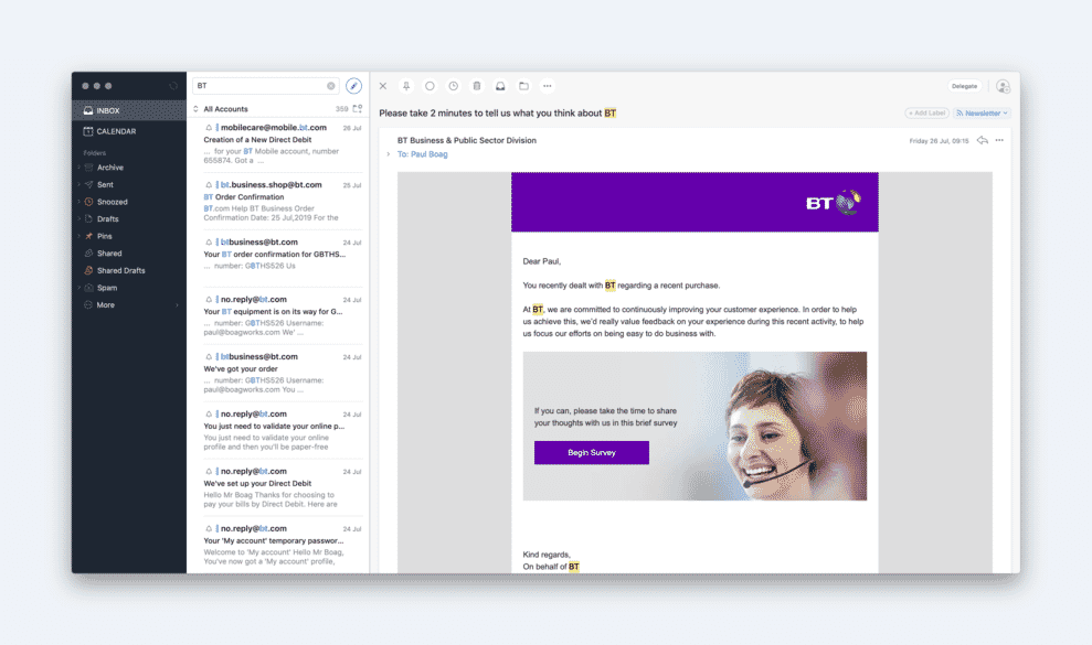 Email clients showing emails from BT business.