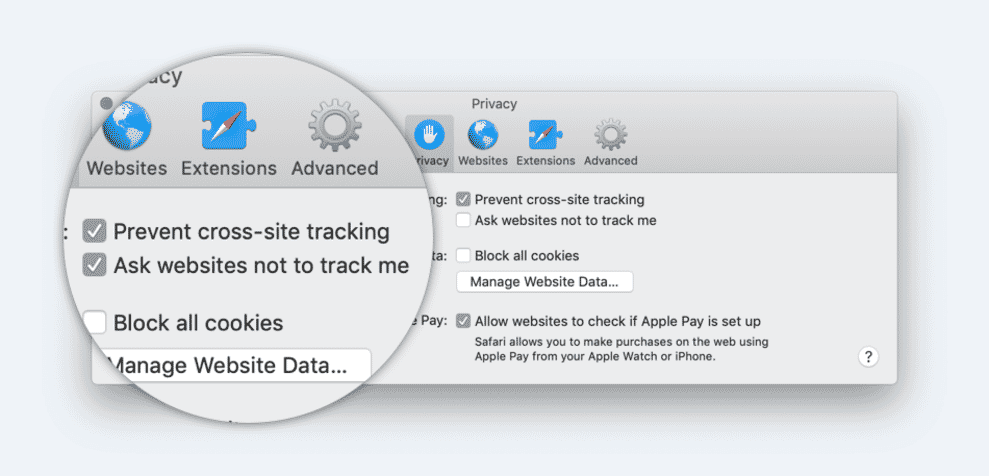 Screenshot of Safari browser settings