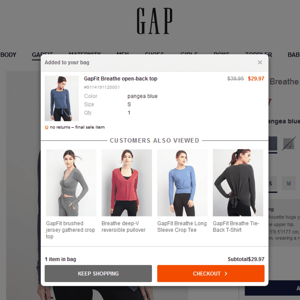 Example of improving website conversion through upselling.
