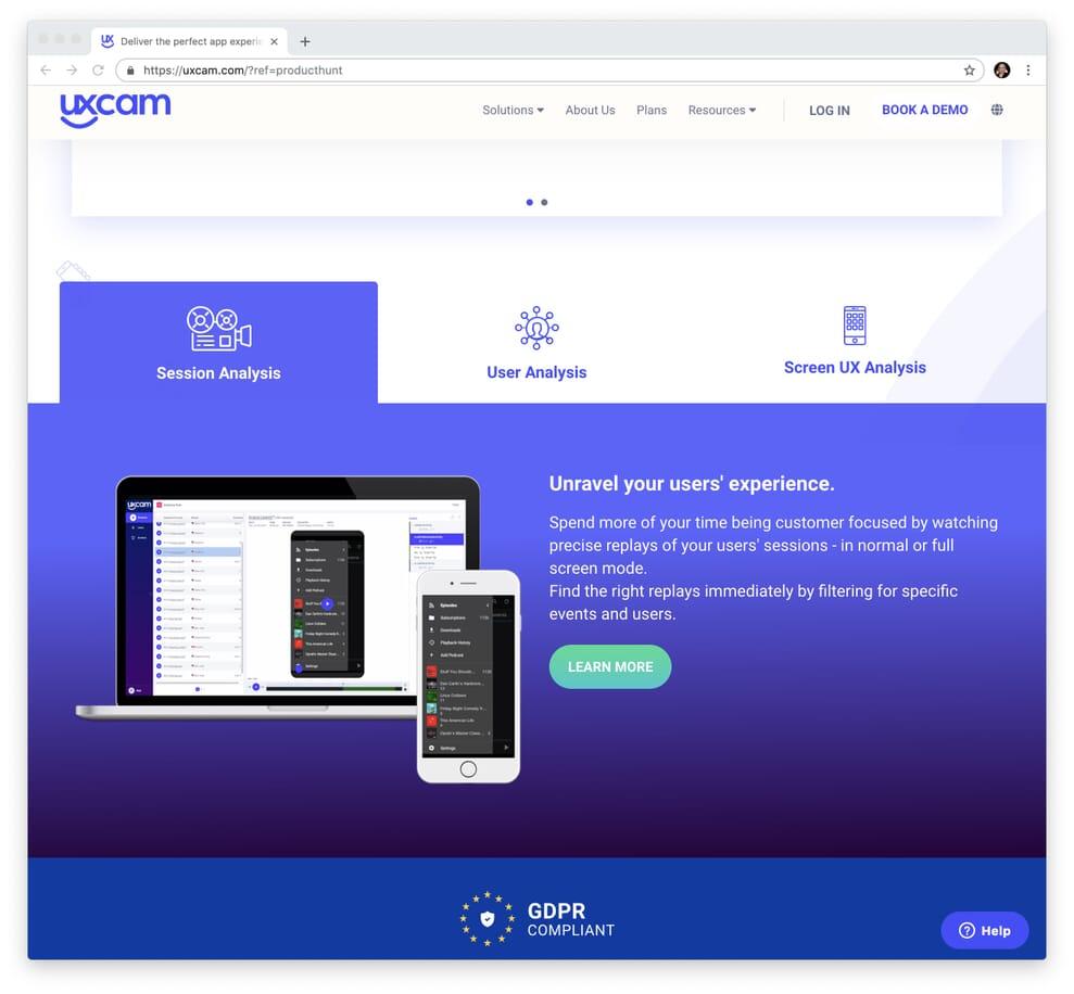 UX Cam Tracks Website Conversion Through to App Usage.