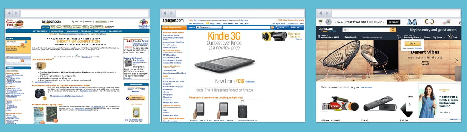 Image showing how Amazon has redesigned its existing website incrementally.