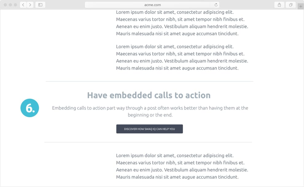 Wireframe of embedded call to action
