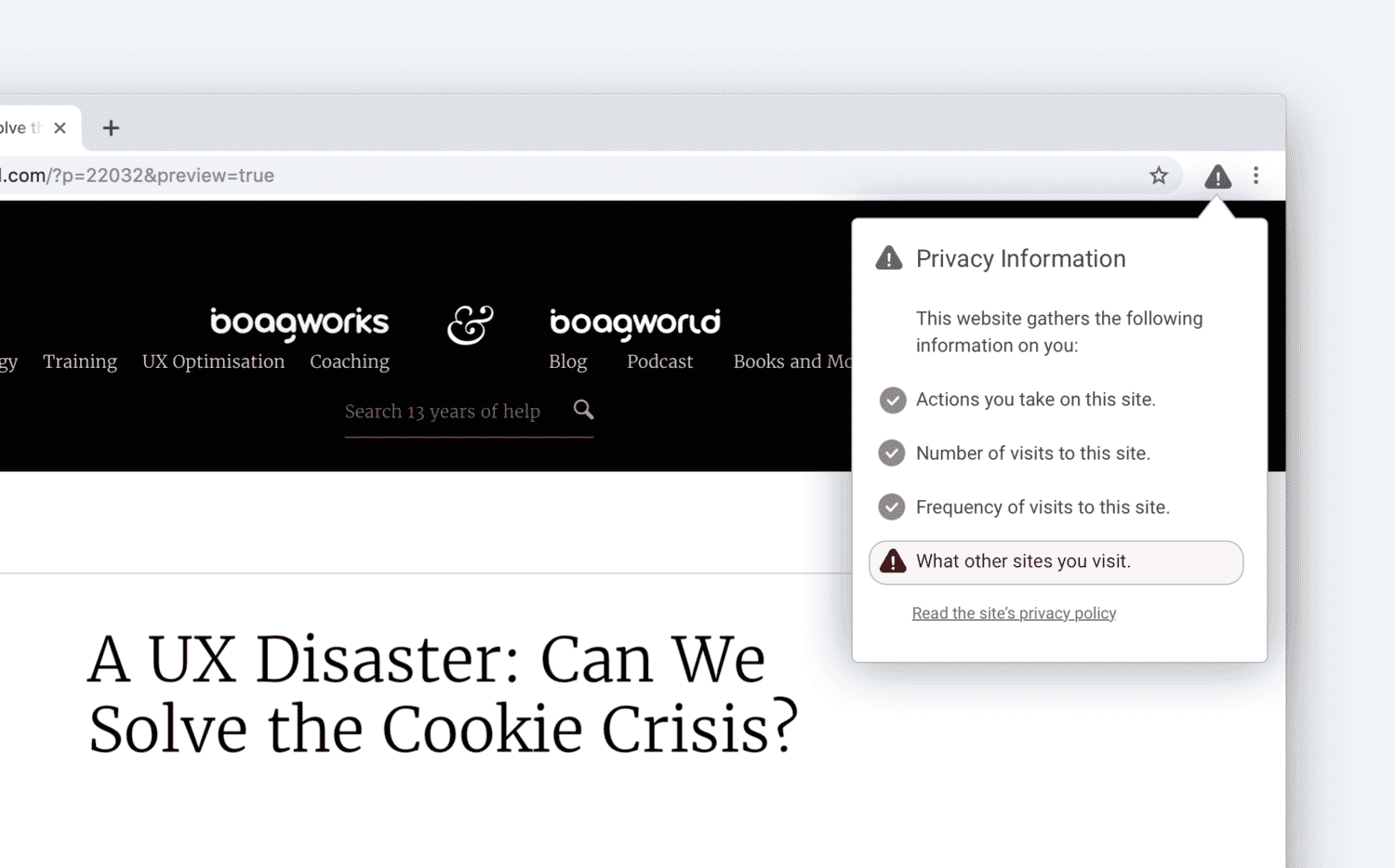 Mockup of in browser cookie notifications.