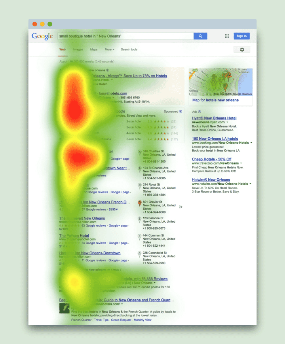 Heatmap of eye tracking showing that we pay more attention to the left hand side of a page.