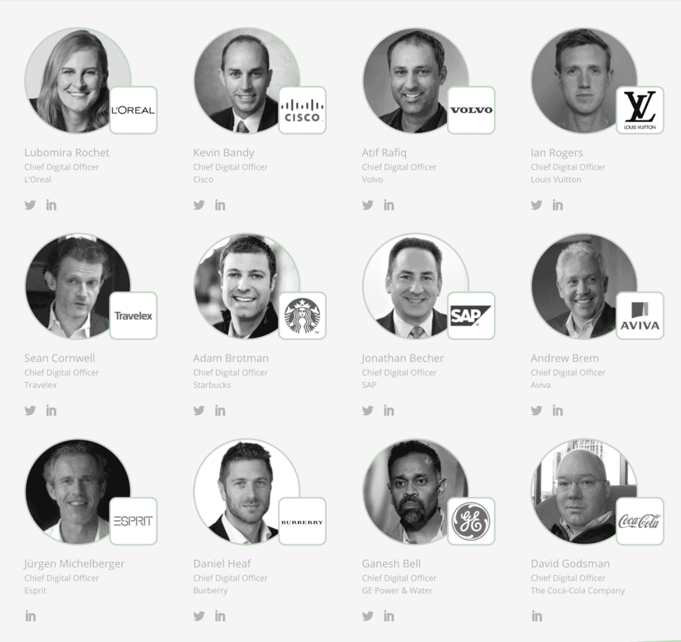 A grid showing major corporate chief digital officer appointments.