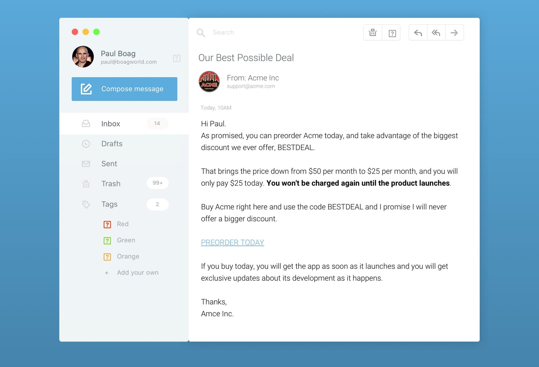 Sample email preorder offer.