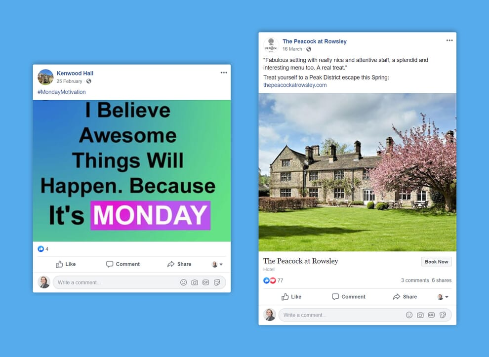 An example of a social media post for a luxury hotel that ​isn't​ consistent with the business's presence or aims (left), compared with a social media post for a luxury hotel that ​is consistent with the business's presence or aims (right).