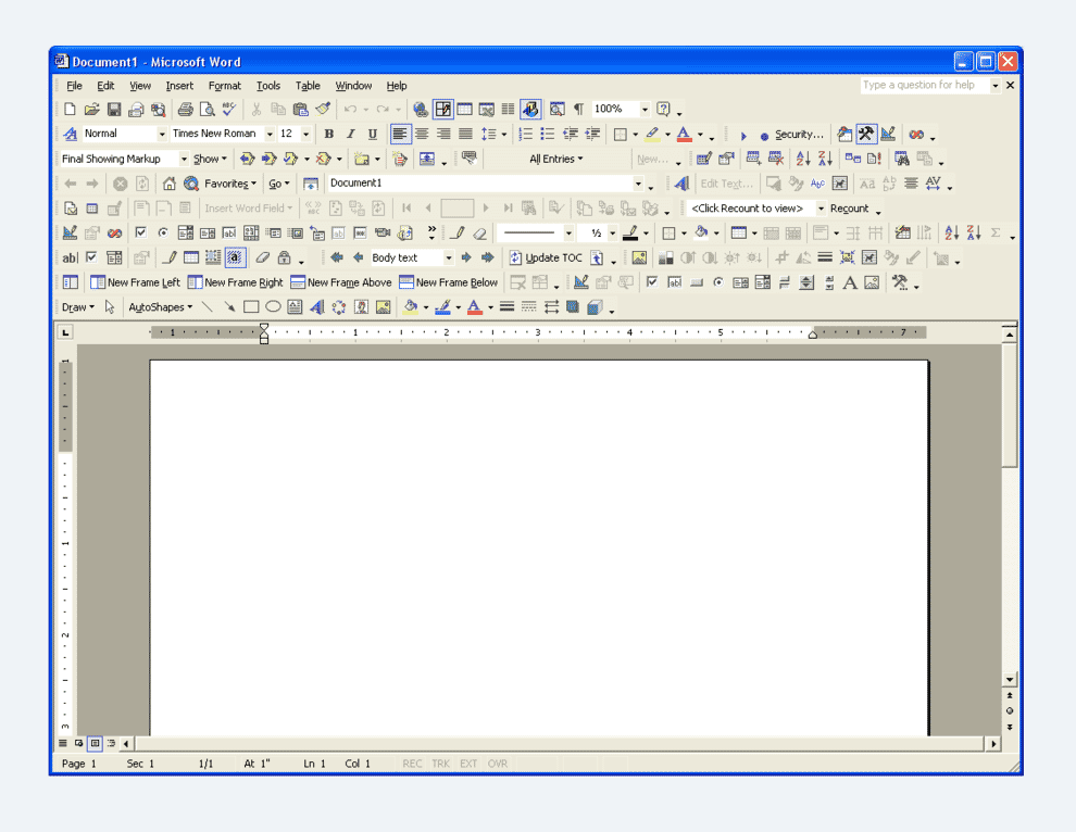 Old version of Word showing all toolbar options.