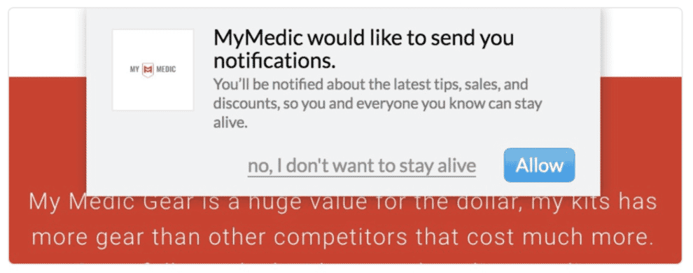 A growing number of websites resort to manipulative copy to stop people cancelling popup notifications.