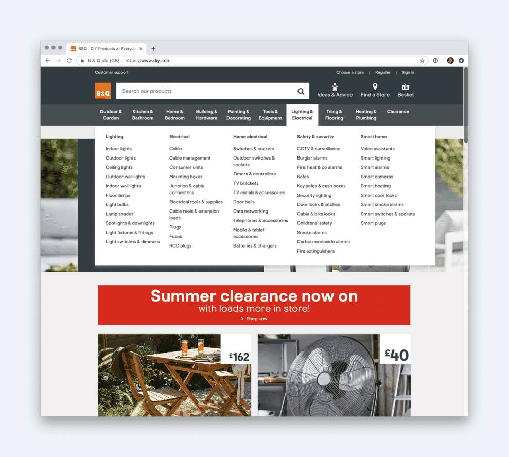 A large mega menu on the B&Q website.