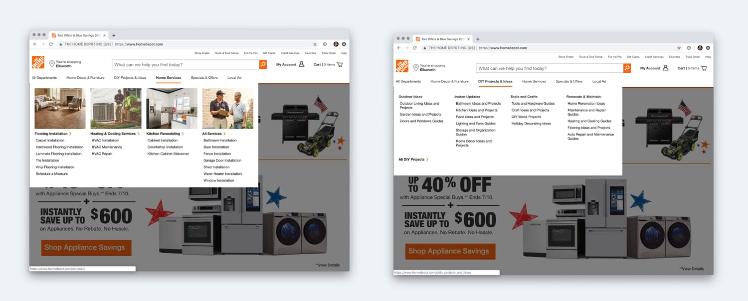 Different style mega menus on Home Depot Website.