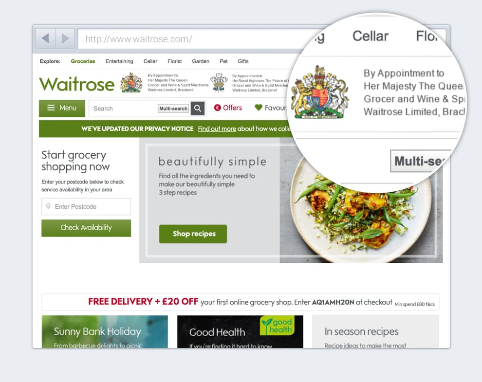 Yes, a royal endorsement does add credibility to Waitrose, but it also distracts from the site navigation and clutters the interface. It could be removed.