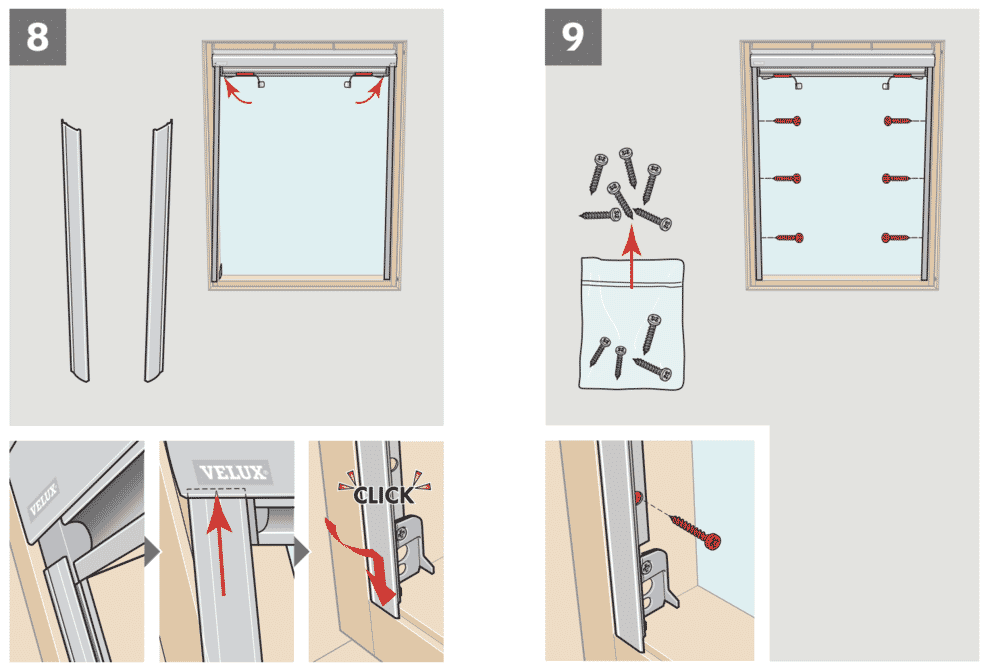 Instructions for Velux Blinds.