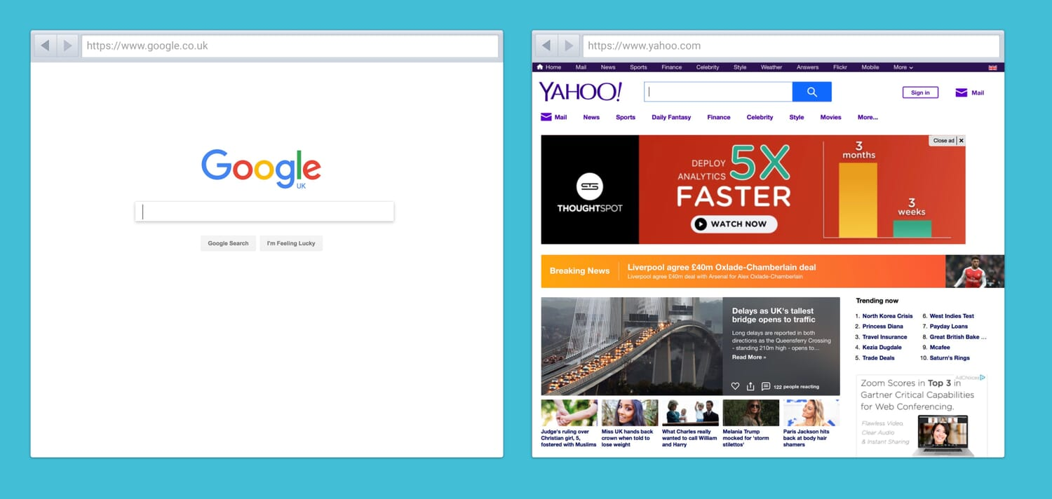 Google and Yahoo homepages