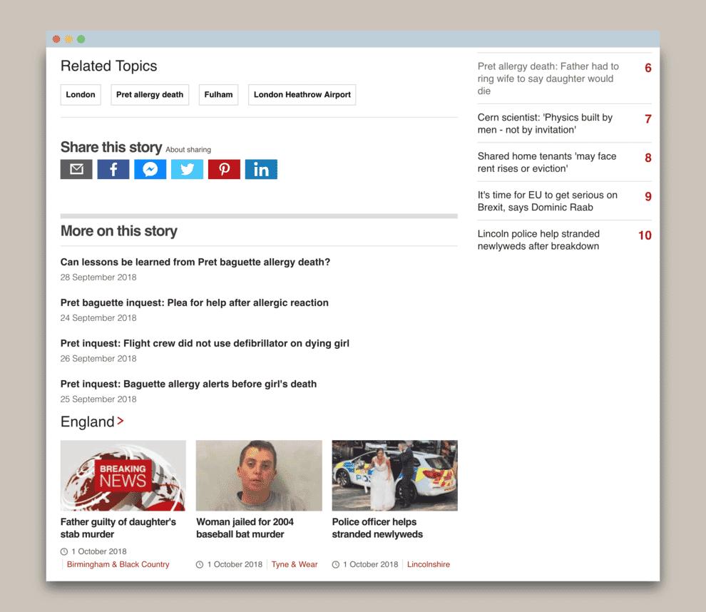 BBC News website personalization.