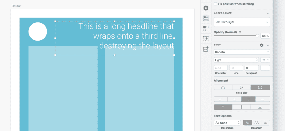 Sketch showing a long heading text box overlapping with other elements.